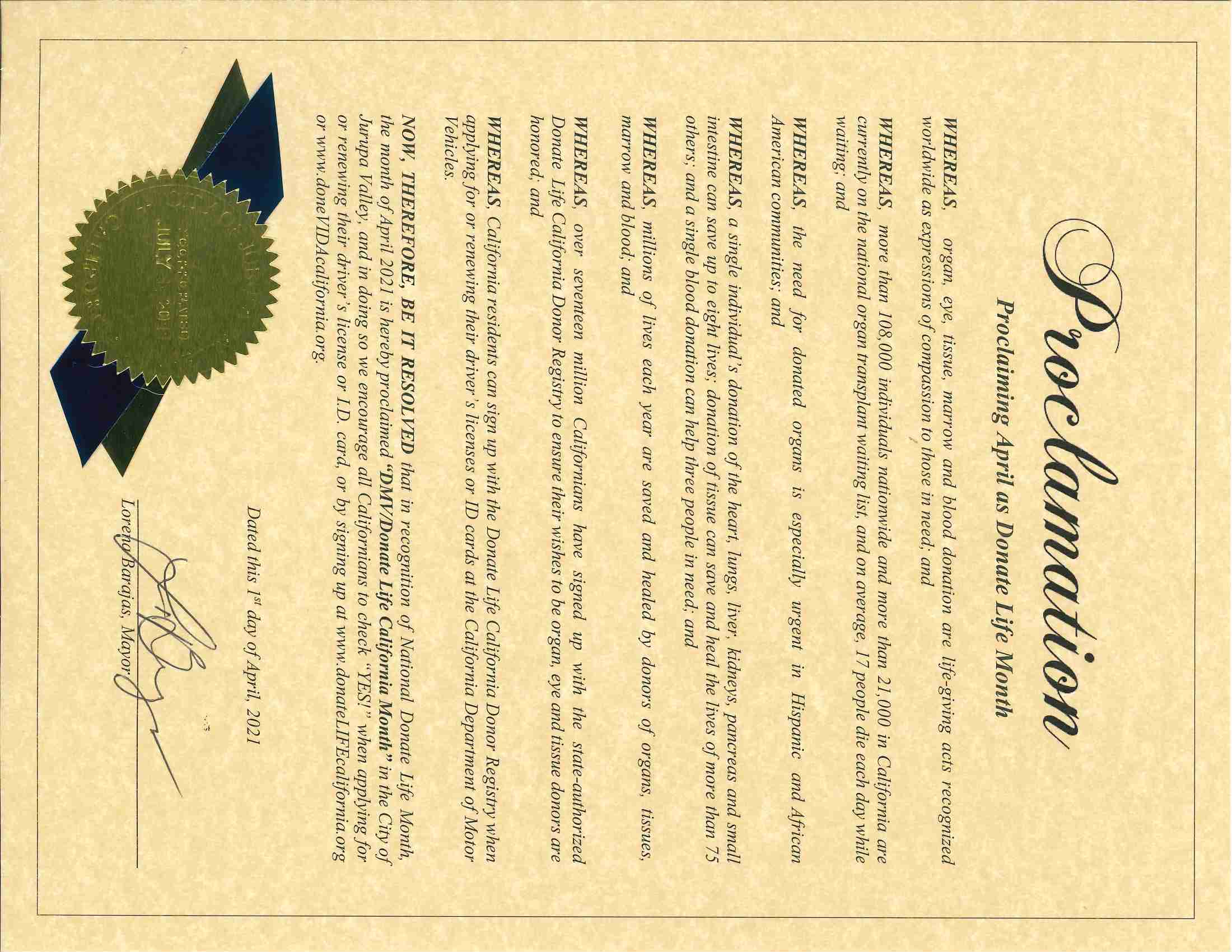 040121 - Proclamation (Donate Life - Scanned)